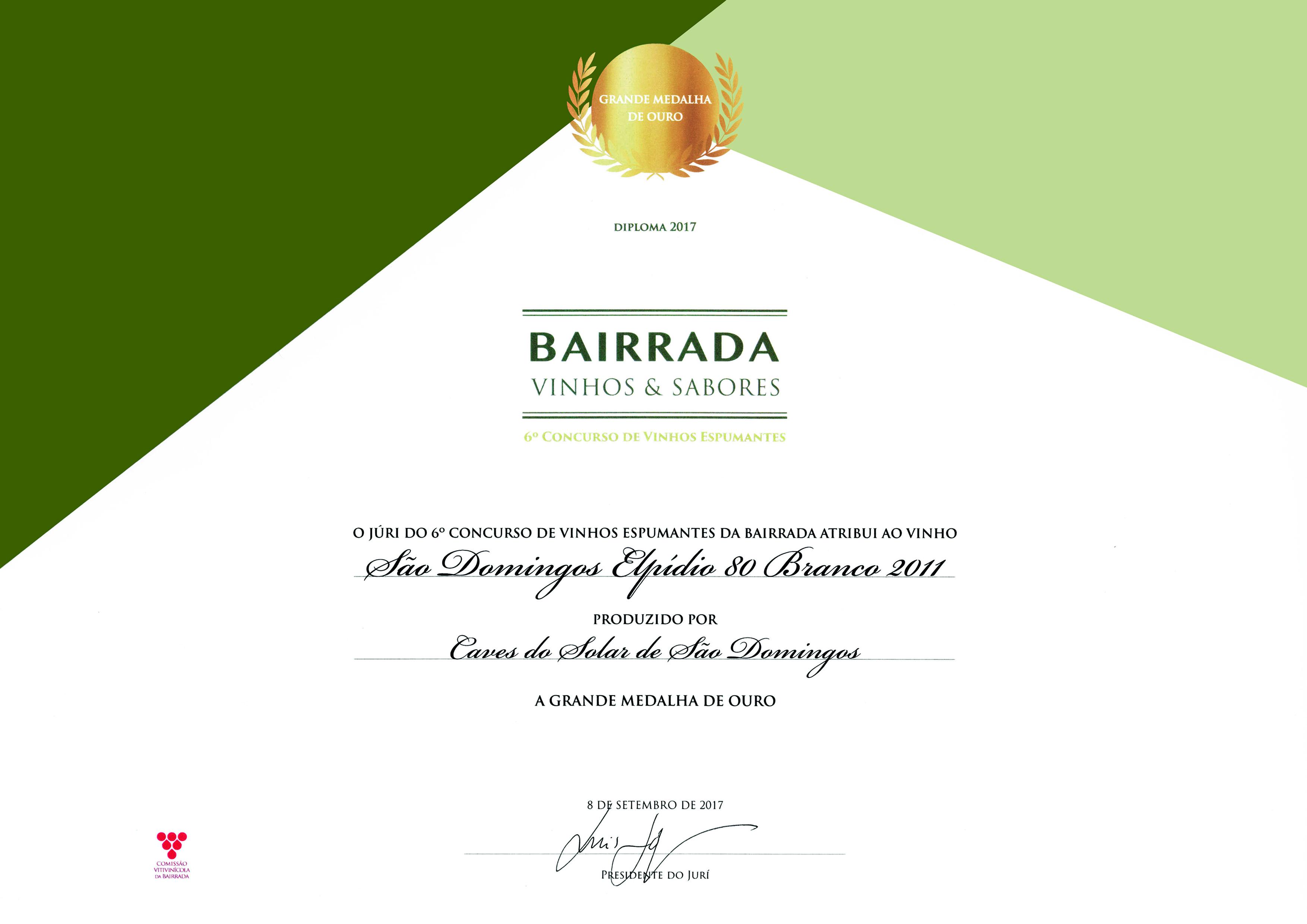 Grande Medalha de Ouro - Espumantes Bairrada 2017